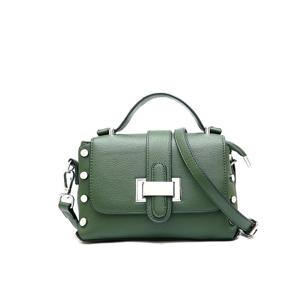 Amyannie Simple PU Female Bag Joker Portable Shoulder Slung Small Square Package (Color : Green)