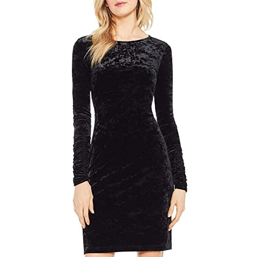 Vince Camuto Womens Ruched Long Sleeve Knit Crushed Velvet Dress At