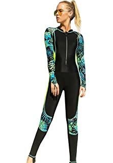 dc1034c9b90 Akaeys Women's Full Body Swimsuit Rash Guard One Piece Long Sleeve Long Leg  Swimwear with UV
