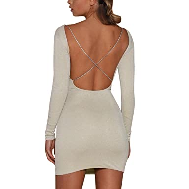 HCFKJ Femmes Sexy Manches Longues Backless Robe Moulante Brillante Ladie  Slim Party Club Mini Style boîte c8a897c7cd0