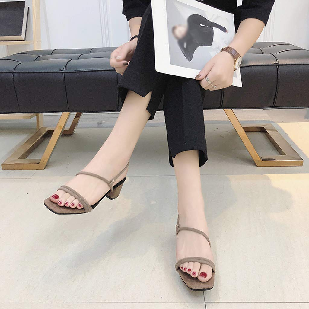 Women Sandals Open Toe Breathable Beach Elastic Band Casual Square Heels Shoes