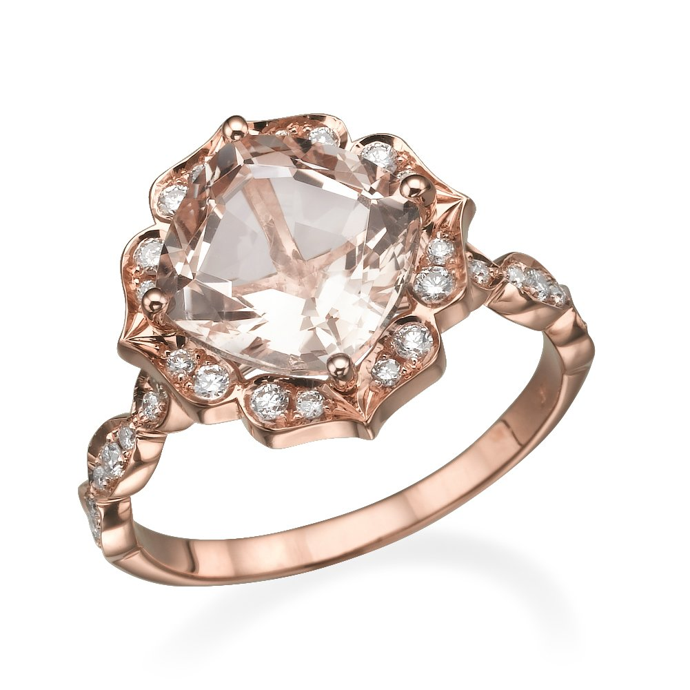 14K Rose Gold 2.55 CT natural peach/pink VS Morganite Engagement Ring with Diamonds Flower Leaves Vintage