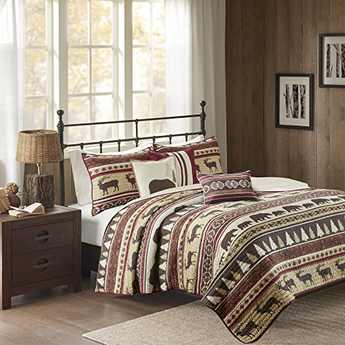 AM 6 Piece Red Animal Print King/Cal King Coverlet Set, Lodge Cabin Hunting Nature Theme Bedding, Horizontal Stripes Warm Cozy Bear Moose Evergreen Tree Print Diamond Shaped, Polyester by AM