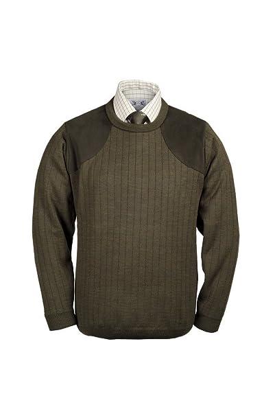 Cubierta de cuello redondo Jersey con parches de captura – Lansdown caza Gear pesca país moteado