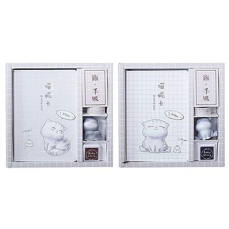Cuaderno de piel con diseño de gato Kawaii con sello y ...