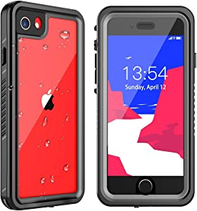 GOLDJU iPhone SE 2020 Waterproof Case, iphone7/8 Waterproof case,360°Full Body Protective Built in Screen Protector IP68 Underwater Waterproof Case for iPhone 7/8 SE 2020 (Black/Clear)