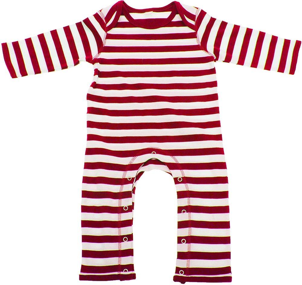 Babybugz Baby Stripy Rompasuit / Baby And Toddlerwear (3-6) (Navy/White) UTBC135_1