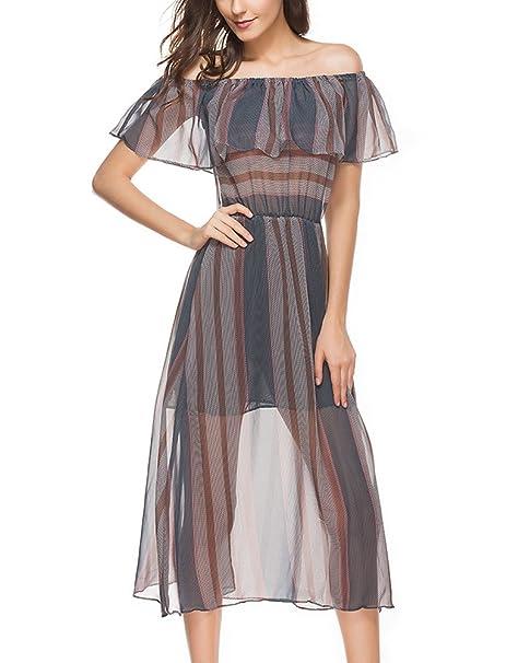 Vestidos Verano Mujer Elegantes Estampados Rayas Transparentes Midi Vestido Hombros Descubiertos Barco Cuello Cintura Alta Con