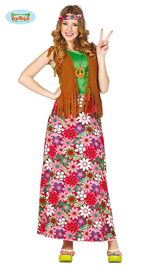 di prim'ordine aliexpress di alta qualità Costume hippie figlia dei fiori anni 70 carnevale donna TAGLIA M ...