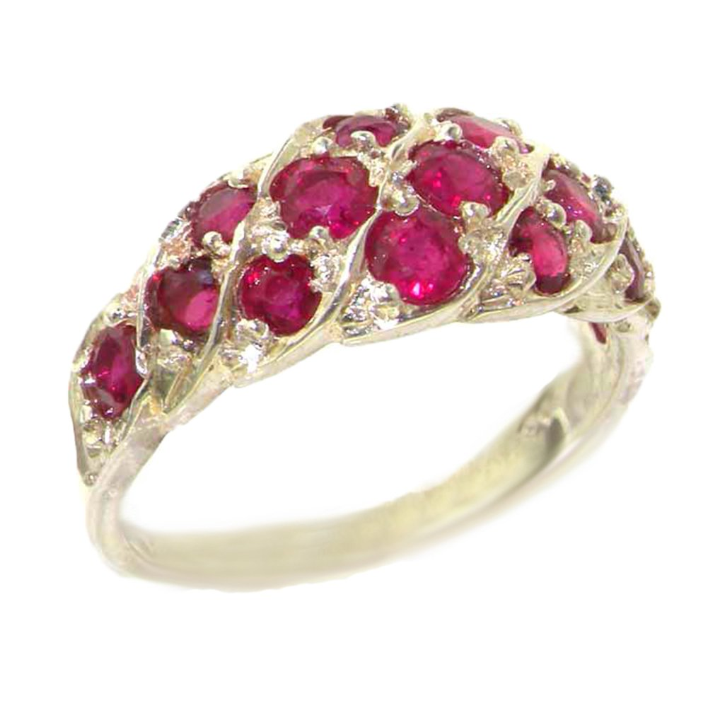 925 Sterling Silver Real Genuine Ruby Womens Band Ring - Size 7