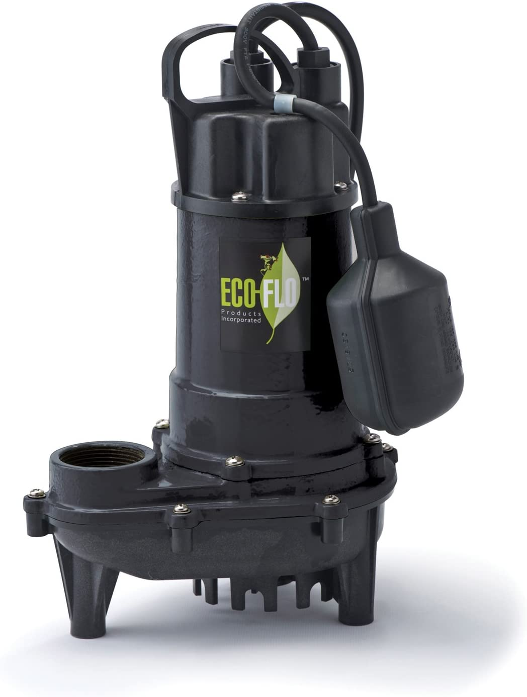 ECO-FLO Products ECD33W Cast Iron Sump Pump with Wide Angle Switch, 1/3 HP, 3,300 GPH