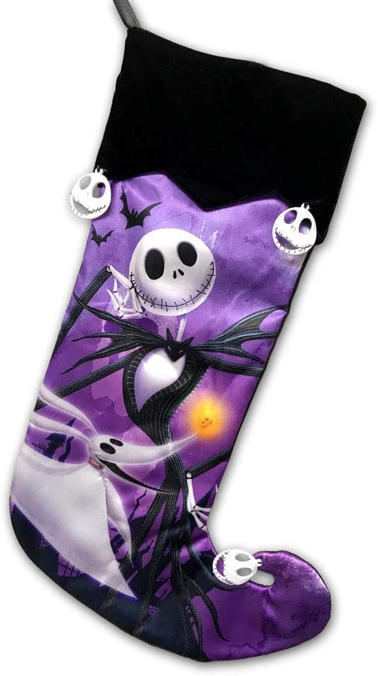 Officially Licensed Tim Burtons The Nightmare Before Christmas 25th Anniversary Edition Hanging Christmas Stocking Decoration Featuring Jack Skellington and Zero