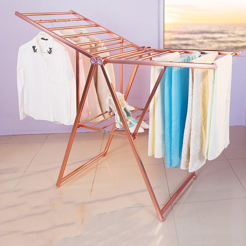 ALUP- 折りたたみバルコニーアルミ乾燥ラック、室内衣類ラック、ホーム乾燥ラック - 室内乾燥ラック折りたたみ (色 : ローズゴールド ろ゜ずご゜るど) B07FJ6TG6N ローズゴールド ろ゜ずご゜るど