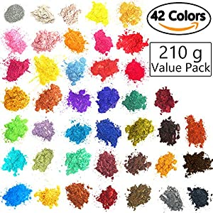 [42 Colors 5gram/0.17ounze each] Mica Powder for Soap Making Dye Kit,Powdered Pigments Set,Bath Bomb Dye Colorant,Makeup Dye Resin Dye,Eye Shadow, Blush,Nail Art,Resin Jewelry,Artist,Craft,Cards