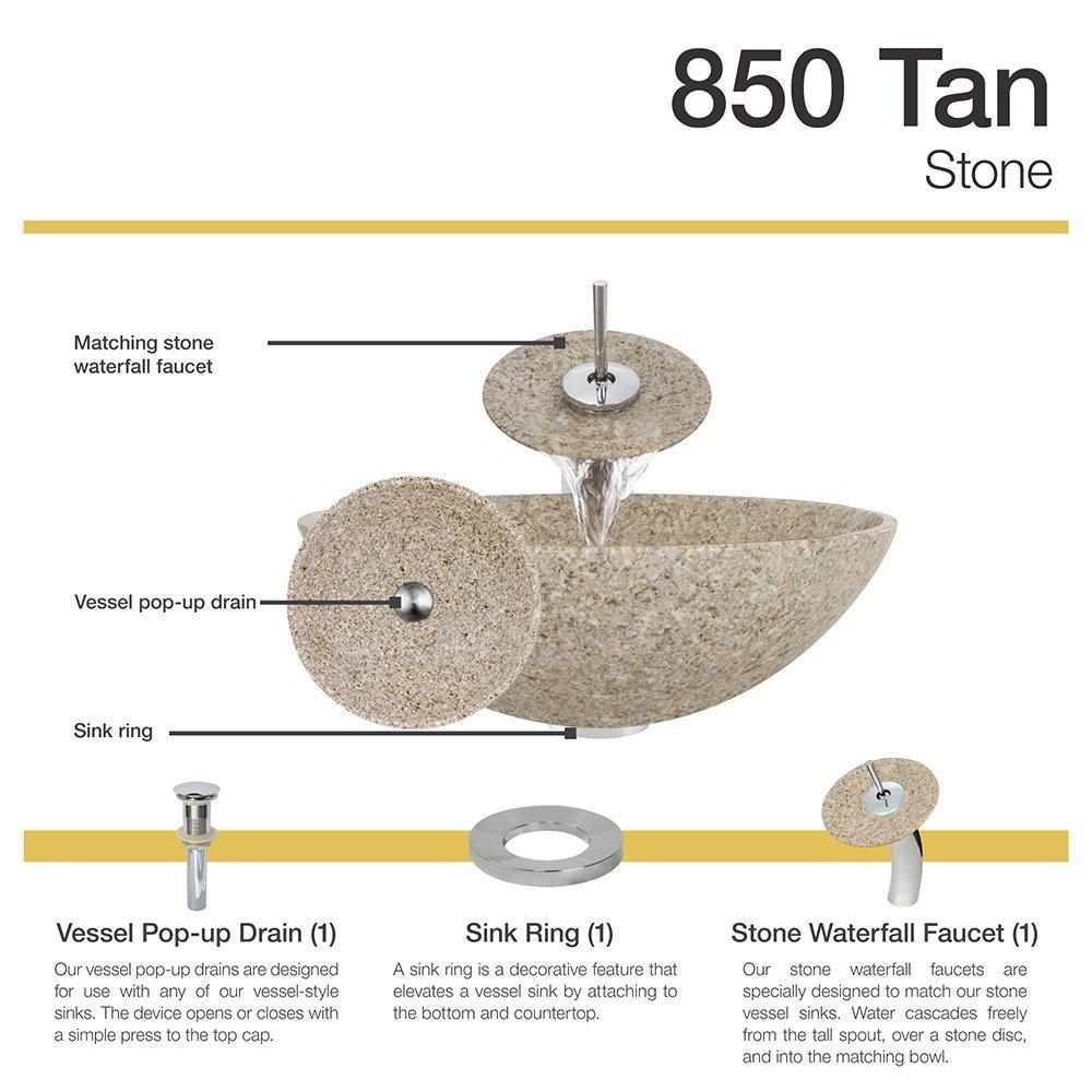 850 Tan Granite Vessel Sink Chrome Bathroom Ensemble with Waterfall ...