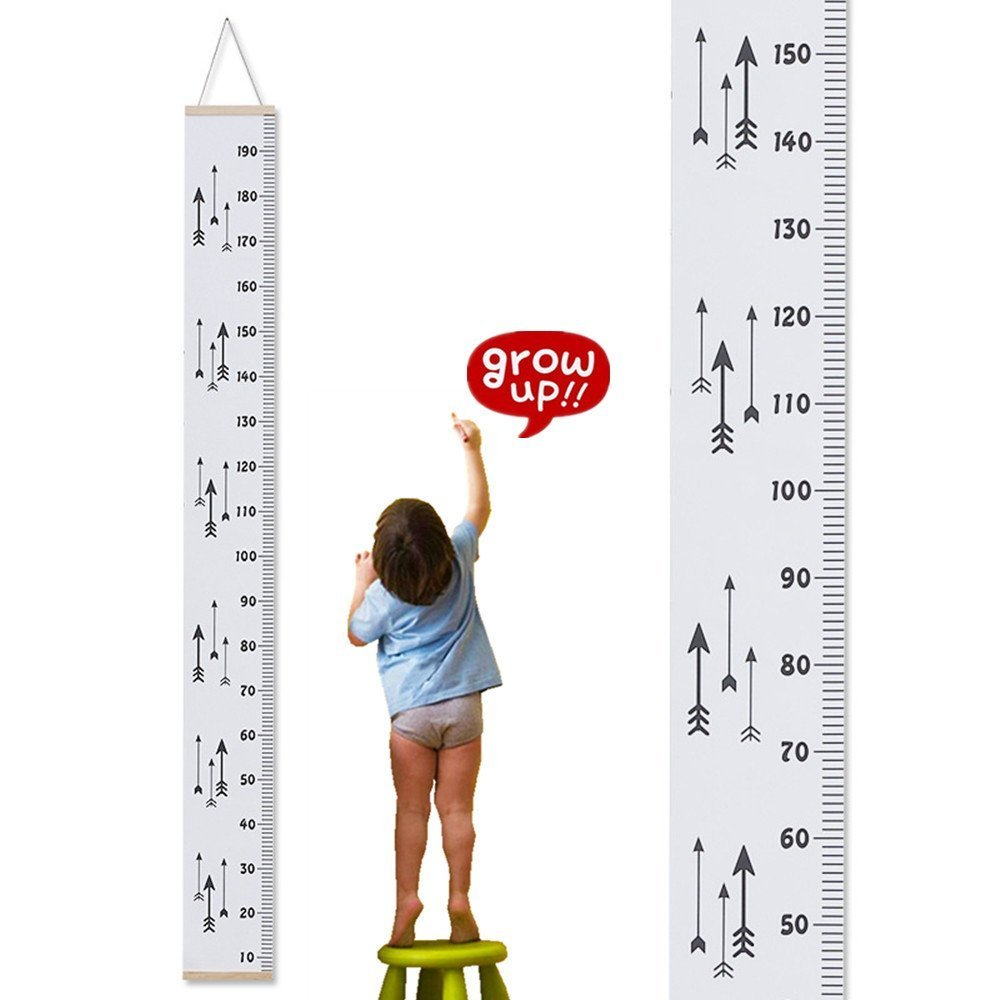 Metric Growth Chart for Kids,Baby Height Wall Hanging Ruler Roll Up Canvas with Wood Frame for Measurement, Nursery Room Decoration, Wall Decor - 79 x 7.9, Portable with Nice Package Drhod
