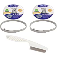 2 Pack Flea and Tick Collar for Cats 15 inch (with a Flea Comb), Safe & Allergy Free, Enhanced with Natural Essential…