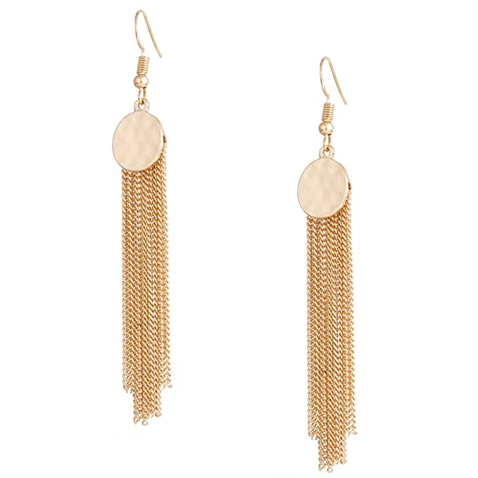 Vintage Style Jewelry, Retro Jewelry HSWE Chain Tassel Earrings for Women Hammered Fringe Dangle Earrings for Girls Wedding Brides Jewelry $9.99 AT vintagedancer.com