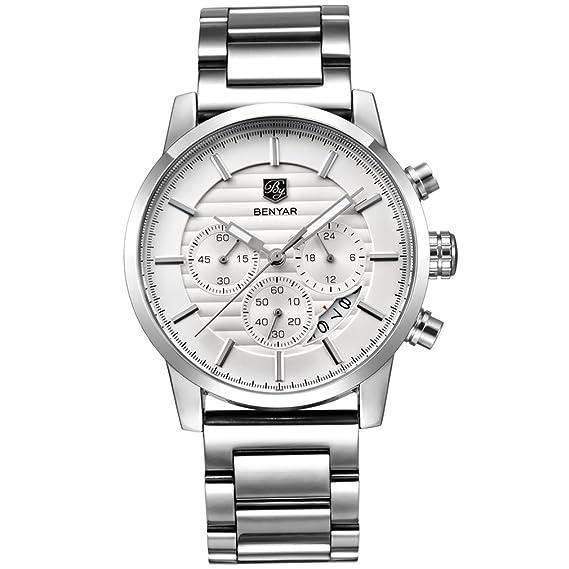 benyar Cronógrafo impermeable relojes negocio deporte correa de banda de acero inoxidable reloj de pulsera para hombre: Amazon.es: Relojes