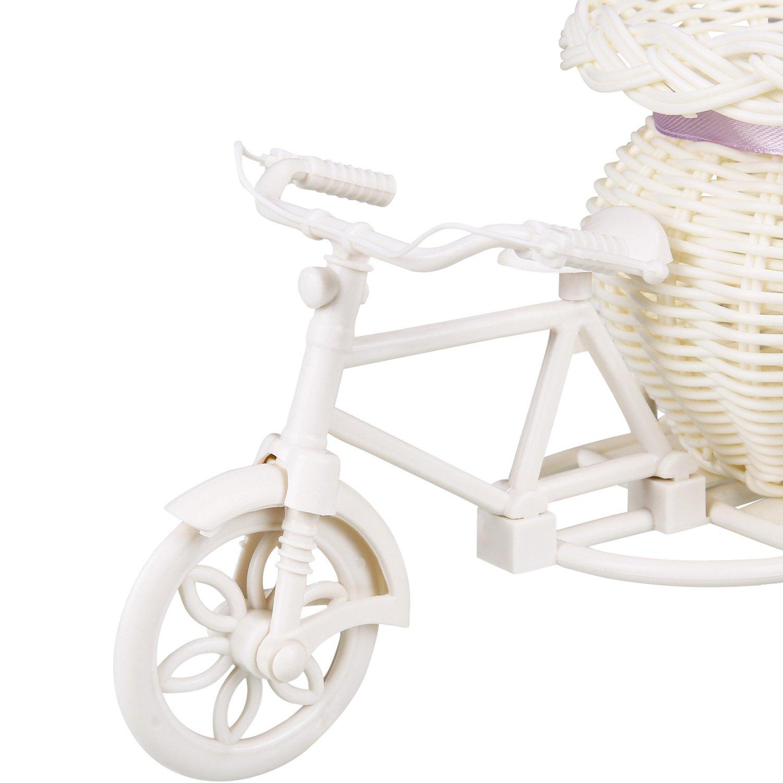 Soledi/® Plastic White Tricycle Bike Design Flower Basket Storage Container For Flower Plant Home Party Weddding Decoration DIY Random Color