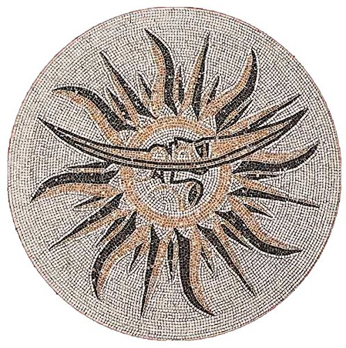 AMERIQUE Luxury Polished Hand Cut Marble Mosaic Medallion Floor Tile, Round Shape, Ready To Install,, 40'' L x 40'' W