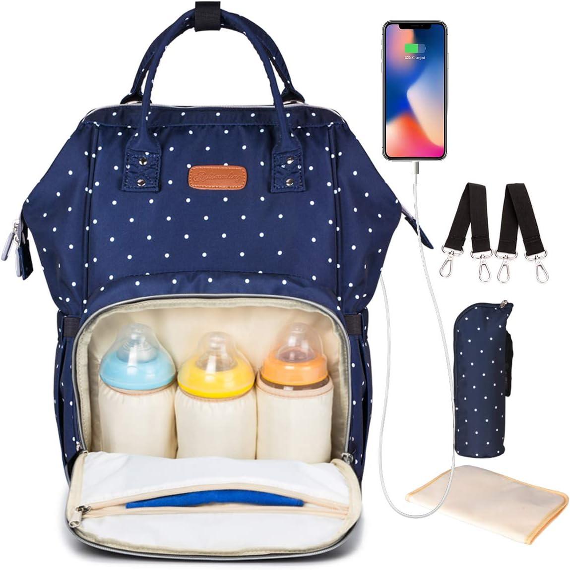 Pañal Bolso Mochila, DINOKA Gran Capacidad Mochila de Pañales Bolso de Viaje, Impermeable Bolsa de Pañales con Aislado Bolsillos para Cuidado de Bebé y Mamá-bluedot