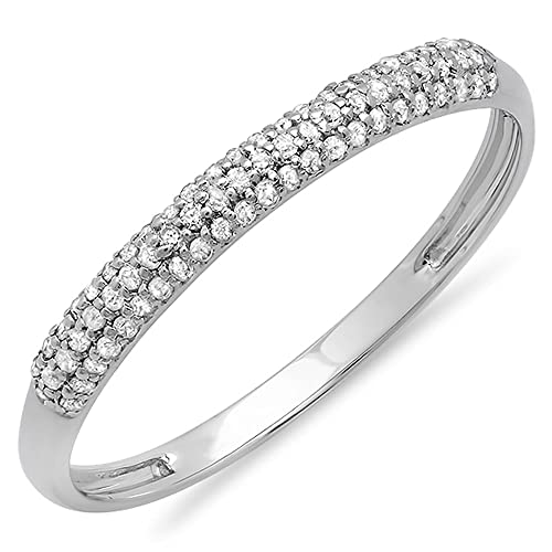 0.16 Carat (ctw) 10K Gold Round White Diamond Ladies Bridal Anniversary Wedding Band Stackable Ring