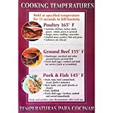 "Cooking Temperature Safety Poster Laminated - 11""L x 17""H"