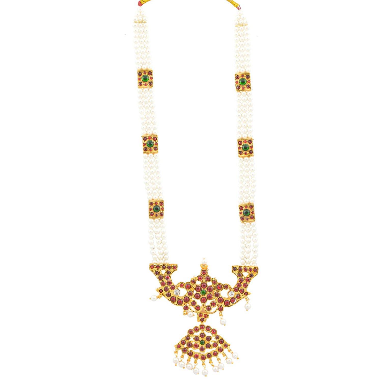 Buy 3 Line Mahari Kempu Muthu Malai (square) Online at Low Prices in ...
