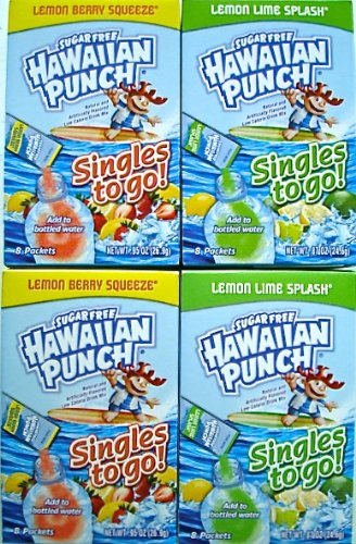Hawaiian Punch Lemon Berry Squeeze and Lemon Lime Splash Singles to Go 4 Boxes