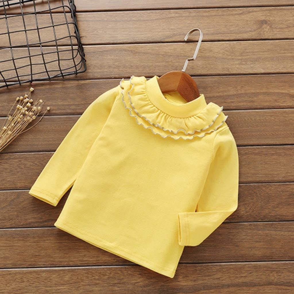 Mitlfuny Primavera Verano de Ropa Blusas para Beb/é Manga Larga Camisas Encaje Camisetas Cuello Alto Tops Ni/ñas Ni/ños 1-5 A/ños