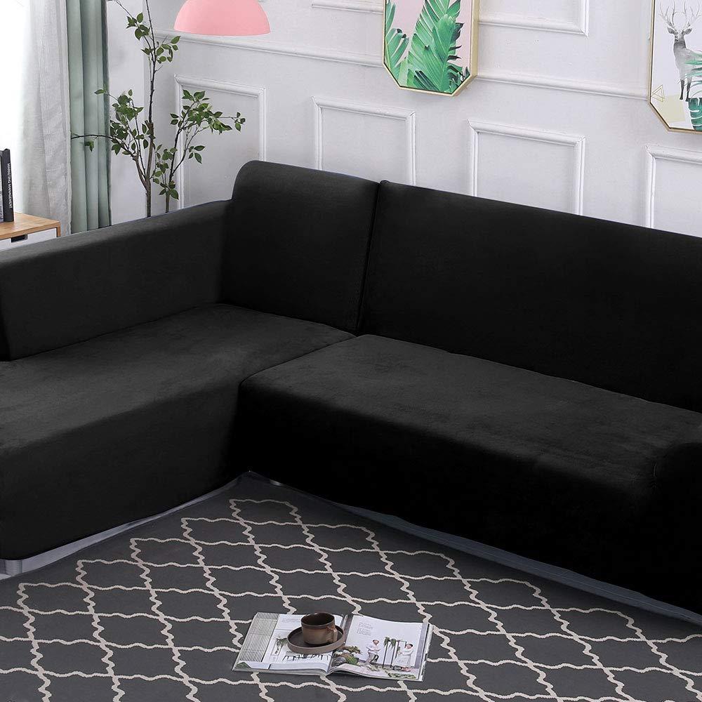 3Posti+2Posti, Beige Copridivano con Penisola Elasticizzato in Peluche Chaise Longue Sofa Cover Componibile in Poliestere a Forma di L