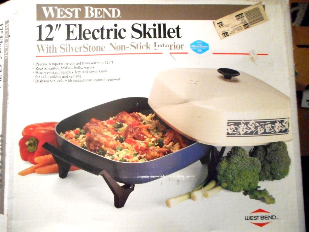 West Bend 12'' Electric Skillet 1200 Watts Non Stick Interrior Made in the USA