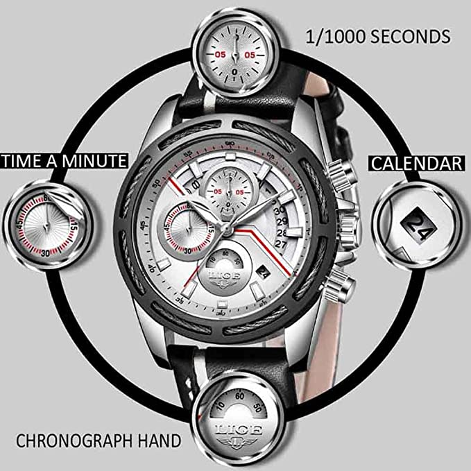 Amazon.com: Man Watch New LIGE Men Watches Top Brand Luxury Man Sport Watch Male Fashion Business Clock Men Leather Quartz Wristwatch Men Military ...