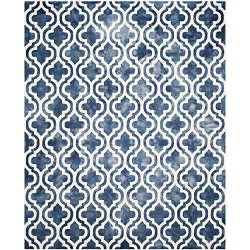 Blue Wool Rug (Safavieh Dip Dye Collection DDY537N Handmade Geometric Moroccan Watercolor Navy and Ivory Wool Area Rug (9' x 12'))