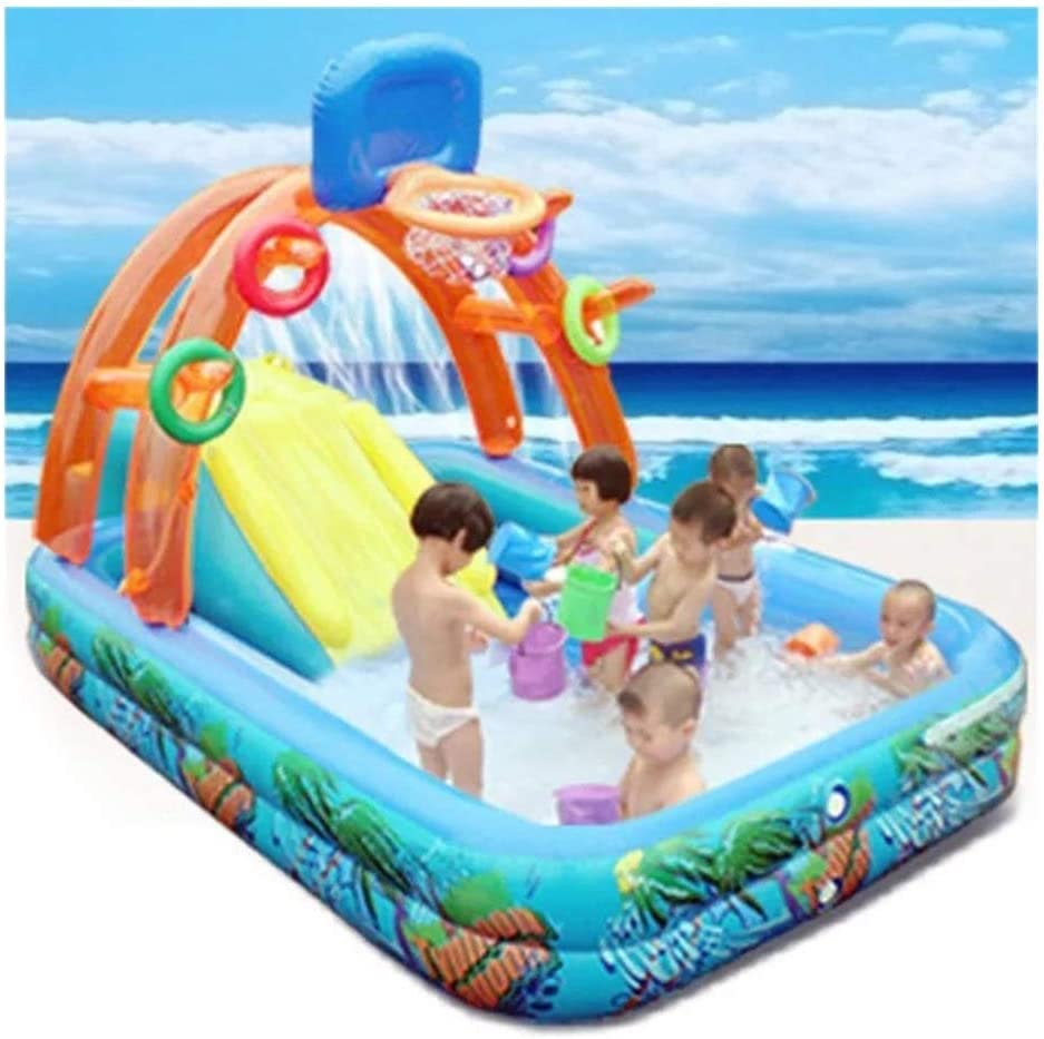 YANGSANJIN Summer Multi-Functional Inflatable Pool Slide for Kids, with Water Spray Ferrule Shooting Function, Suitable for Babies Over 3 Years Old