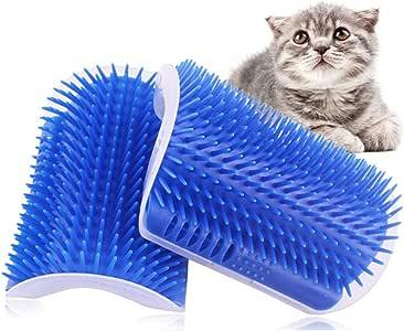 Kingtree Cat Self Groomer, 2 Pack Cats Corner Groomer Wall Corner Massage Comb Grooming Brush Perfect Massager Tool for Long & Short Fur Kitten Puppy - Blue