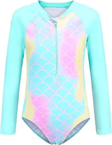 Choomomo Kids Girls Flower Pattern Printed Long Sleeves Swimsuit Zipper Front One Piece Summer Rash Guard