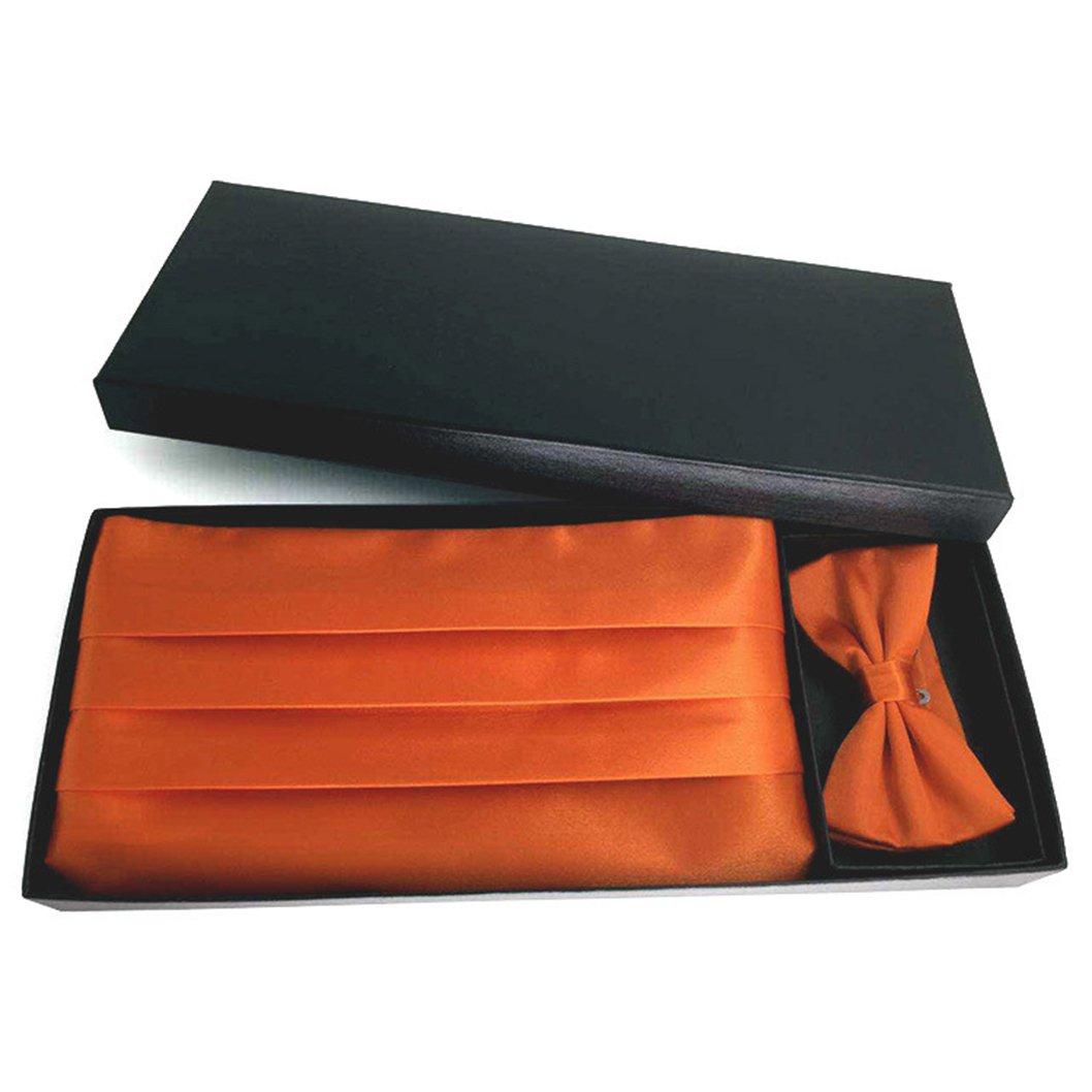 MENDENG Men's Solid Color Soft Stain Bow Tie Handkerchief Cummerbund Tuxedo Set ENG1310
