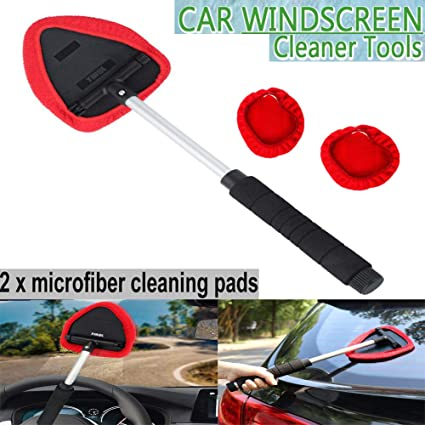 DEDC 2 Pack Car Windshield Cleaner Wipe Tool from Inside Window Glass Cleaning Tool for Home Bedroom with Long Handle Blue