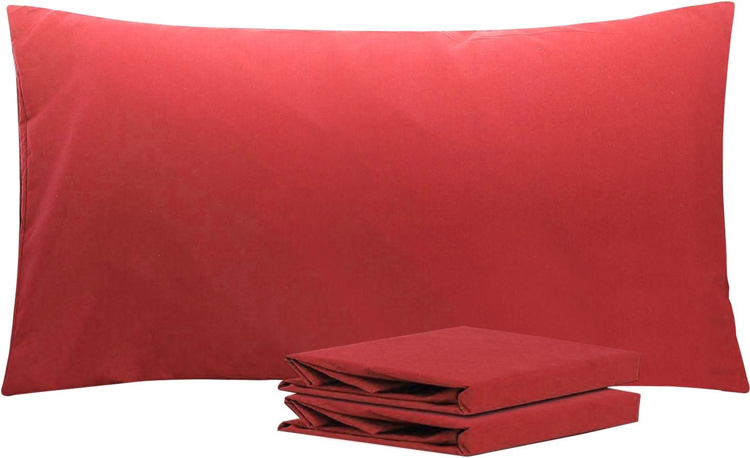 NTBAY Fundas de Almohada de Microfibra, Paquete de 2 Fundas de Almohada con Cierre Suave Antiarrugas y Resistente a Las Manchas, 50x90 cm, Vino Rojo