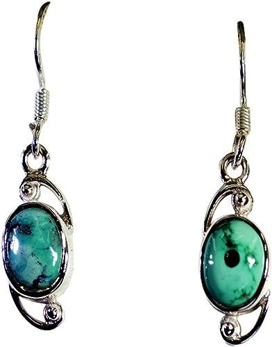 square earrings Geometric silver earrings with Turquoise stone gemstone earrings silver hook earrings Greek jewelry gift for her
