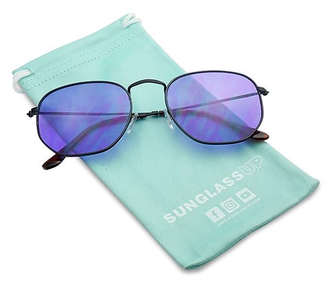 732b02d120 Round Geometric Pantone Colored Tinted Flat Lens Ultra Slim Metal Hexagonal  Sun Glasses (Black