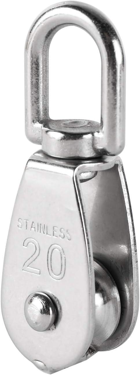 M20 DasMarine 2 Pack Single Pulley Block in 304 Stainless Steel Crane Swivel Hook Single Pulley Roller Loading