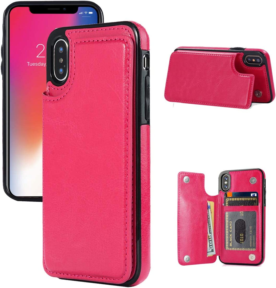 iPhone X/XS Wallet Case, iPhone X/XS Case with Credit Card Holder, JOYAKI Slim PU Leather Case with Card Slots, Protective Case with a Screen Protective Glass for iPhone X/XS 5.8 inch-Deeppink