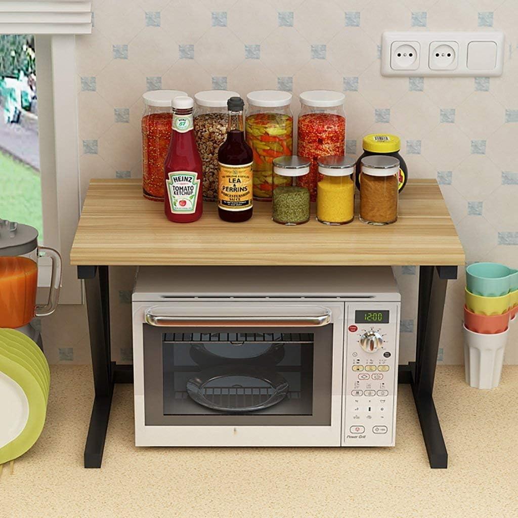 棚, 2段電子レンジラックスパイスクッカーシェルフキッチンスタンドキャビネットとカウンターシェルフオーガナイザー、57x38x37cm(色:D)、色:D (Color : E)
