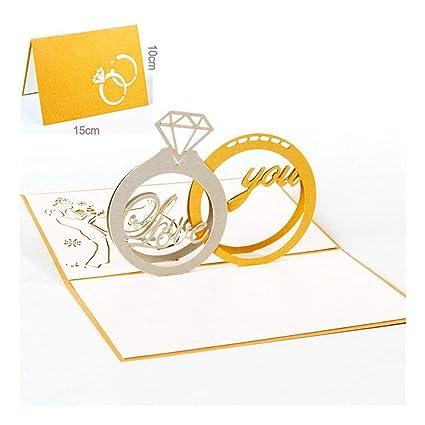 ZHOUBIN Tarjeta 3D de amor creativo anillo de diamante ...