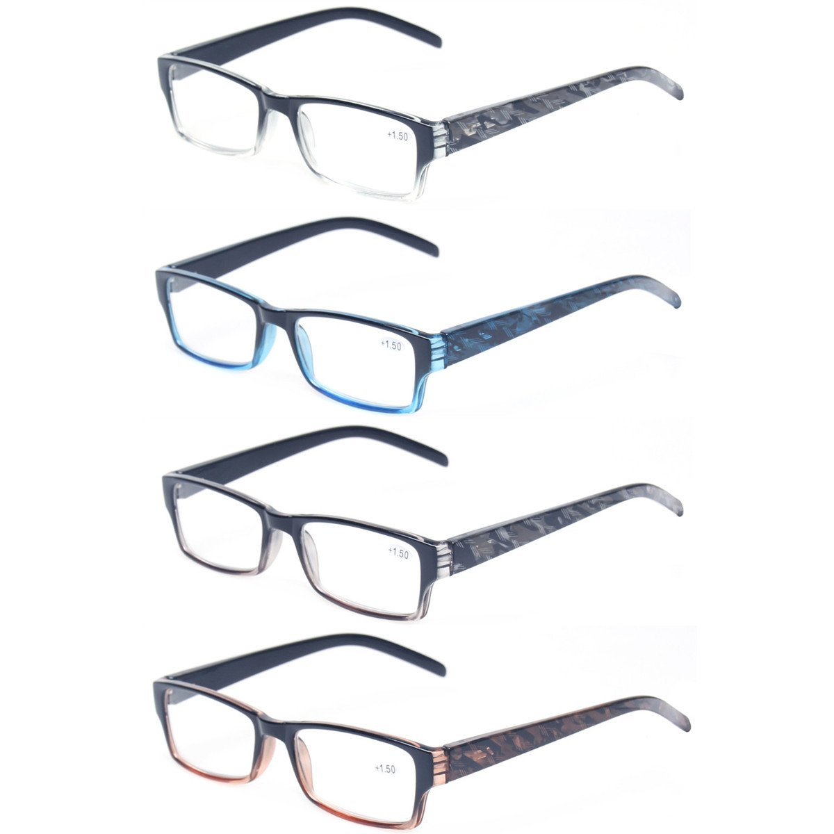 Reading Glasses 4 Pairs Fashion Spring Hinge Readers Great Value Quality Glasses (4 Pack Mix Color, 2.00) by Kerecsen