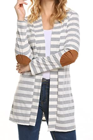 OURS Women's Elbow Patch Long Sleeve Shawl Collar Striped Open Front  Cardigan Sweater… (S