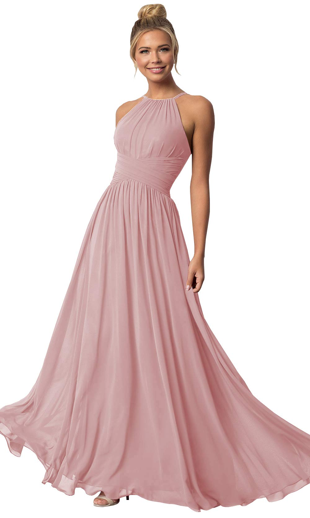 4c7b876d4838 Women's Halter Chiffon Long Bridesmaid Prom Gown A Line Sleeveless Party Prom  Dress Dusty Rose Size 10